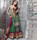 ZOYA DRESS GLAMOROUS GREEN EMBROIDEDRED WITH TROUSER STYLE SALWAR