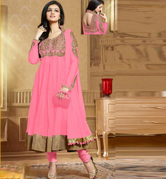 Ayesha Takia in designer pink Anarkali salwar kameez dress