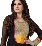 BEWITCHING BLACK COLOR ZAREEN KHAN ANARKALI SUIT RTZA1009 - stylishbazaar - Zarine Khan, Zareen Khan, Bollywood Salwar Kameez, Bollywood Anarkali Suits, latest bollywood Salwar Kameez, bollywood Anarkali Suits online, Bollywood Designer Salwar Kameez, buy bollywood Salwar Kameez Online, Indian Salwar Suits