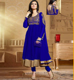 Ayesha Takia in designer Blue Anarkali salwar kameez dress