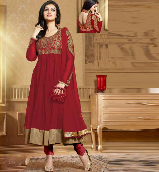Ayesha Takia in designer Maroon Anarkali salwar kameez dress