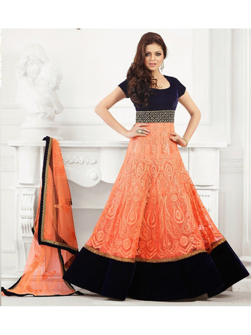 Drashti Dhami Orange net anarkali dress