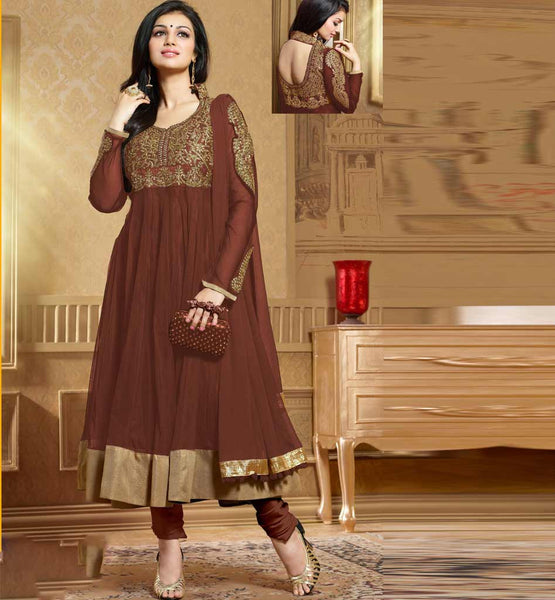 Ayesha Takia in designer Brown Anarkali salwar kameez dress