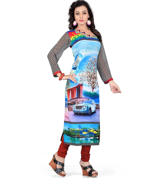 CONTEMPORARY STYLE GEORGETTE DIGITAL PRINT KNEE LENGTH TUNIC TOP