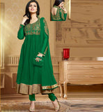 Ayesha Takia in designer green Anarkali salwar kameez dress