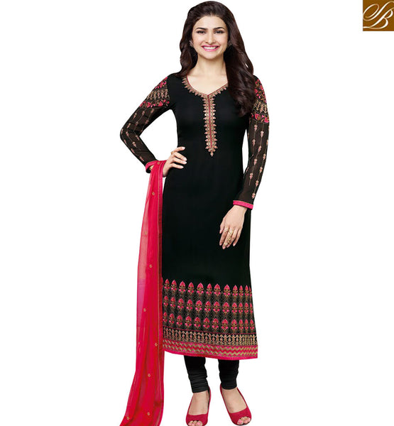 STYLISH BAZAAR BOLLYWOOD CELEBRITY PRACHI DESAI GORGEOUS BLACK DESIGNER SUIT VNPD3572