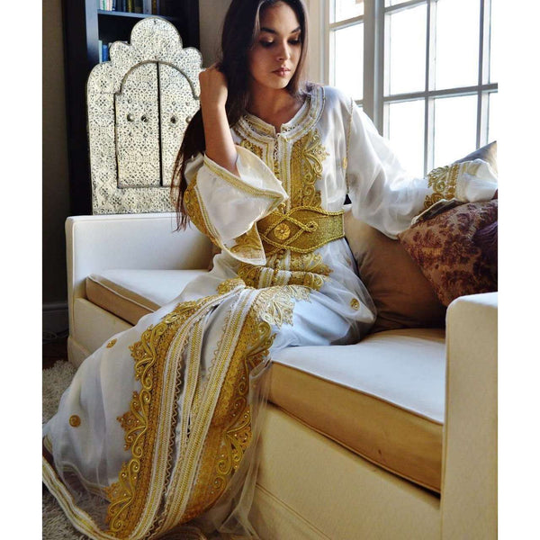 White with Gold Embroidery Moroccan Takchita Party Kaftan-Millia - Maison De Marrakech