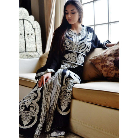 Black with White Moroccan Takchita Party Kaftan-Kalia Style - Maison De Marrakech