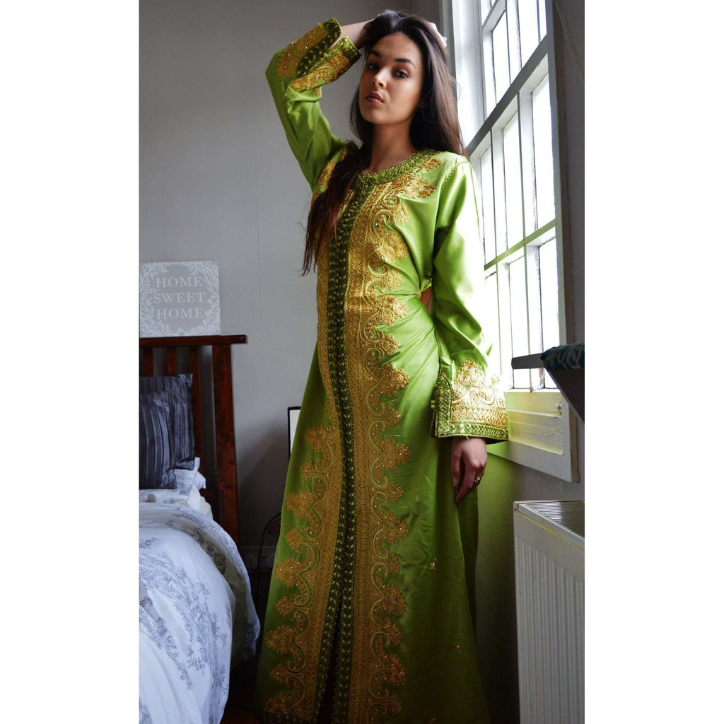 Moss Green with Gold Moroccan Takchita Party Kaftan-Kalia Style - Maison De Marrakech