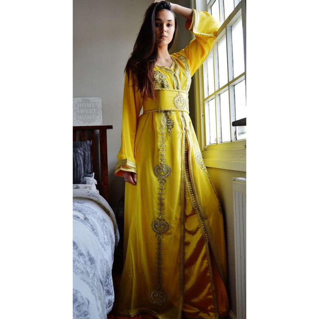 Yellow with White Moroccan Takchita Party Kaftan-Kalia Style - Maison De Marrakech
