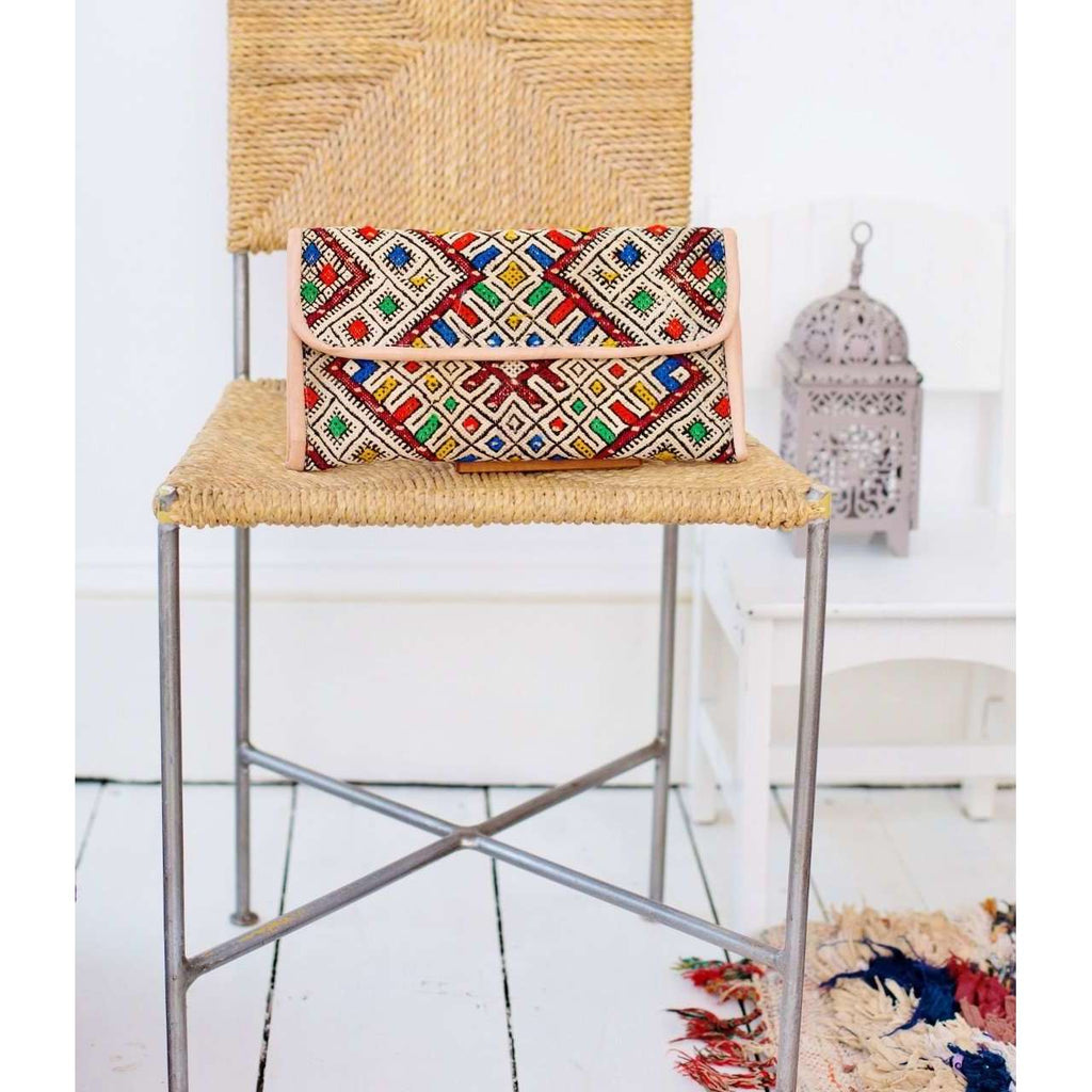 Moroccan Multi Colour Kilim Hand Clutch with Shoulder Straps Berber style-bag, tote, handbag, purse
