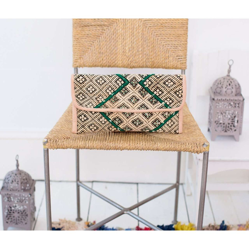 Moroccan Green Turquoise Kilim Hand Clutch