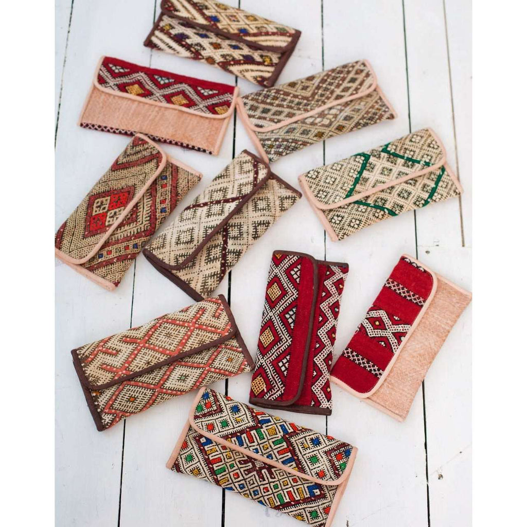 Moroccan Red Kilim Hand Clutch with Shoulder Straps Berber style-bag, tote, handbag, purse - Maison De Marrakech