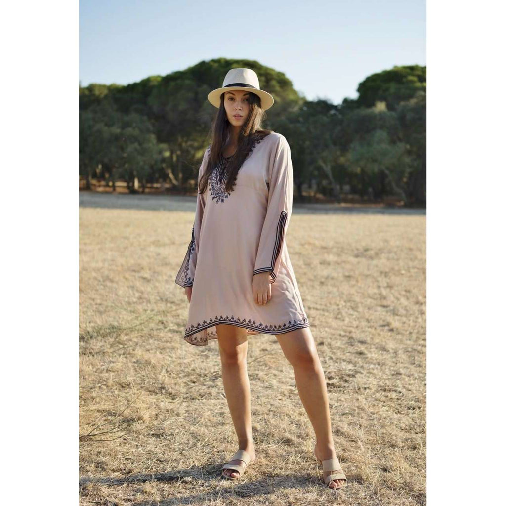 Beige Navy Blue Embroidery Nadia Tunic Dress - Moroccan Tunic - Maison De Marrakech