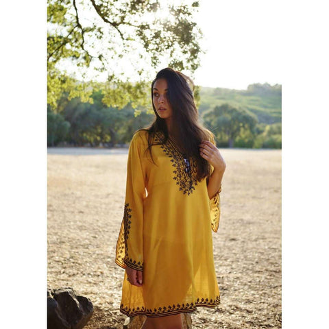 Mustard Yellow Nadia Tunic Dress - Moroccan Tunic - Maison De Marrakech