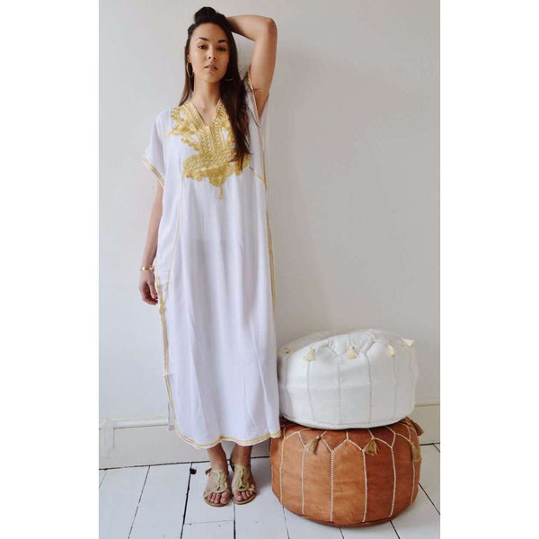White Kaftan Maxi Dress Marrakech Style - Maison De Marrakech