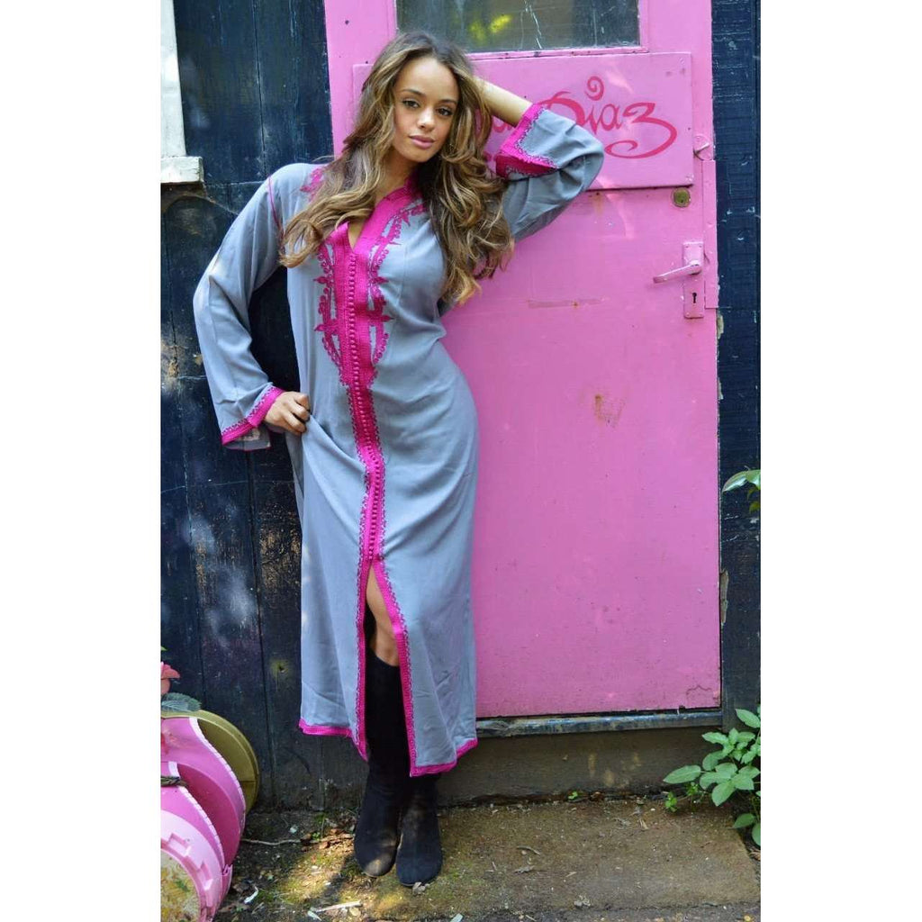 Grey with Pink Embroidery  Kaftan Maxi Dress -Lella Style - Maison De Marrakech