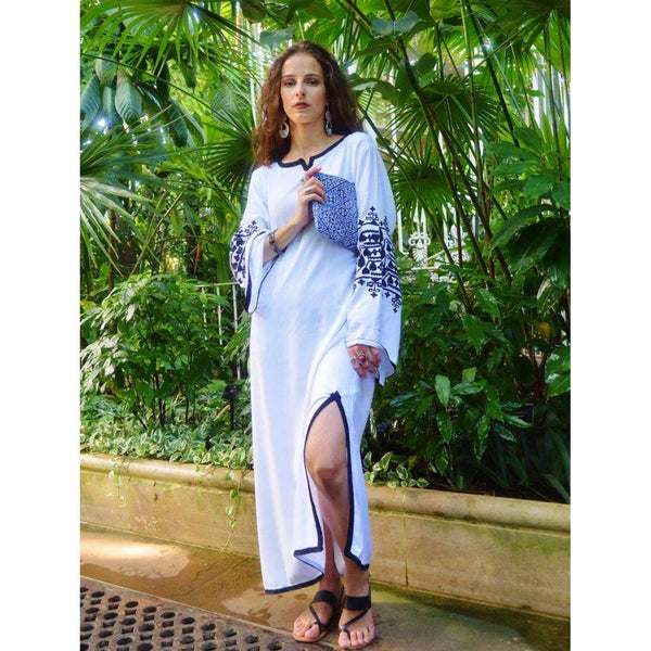 White Zina Kaftan- Moroccan Kaftan, maxi dress, beach cover ups, beach dress, plus size - Maison De Marrakech