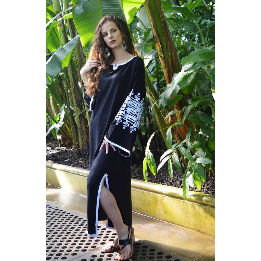 Black Zina Kaftan- Moroccan Kaftan, maxi dress, beach cover ups, beach dress, plus size - Maison De Marrakech
