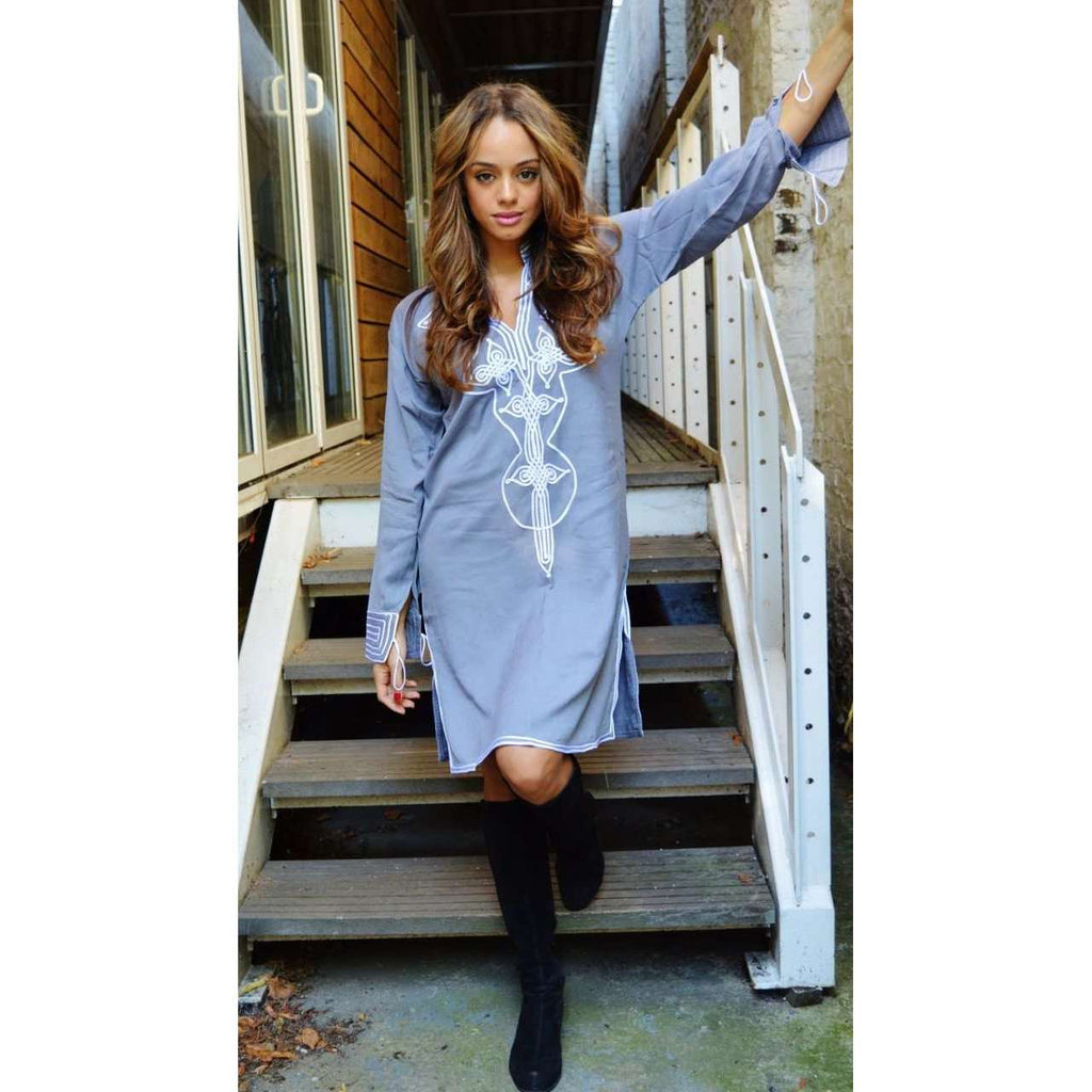 Grey with White Moroccan Tunic Dress - Aisha Style