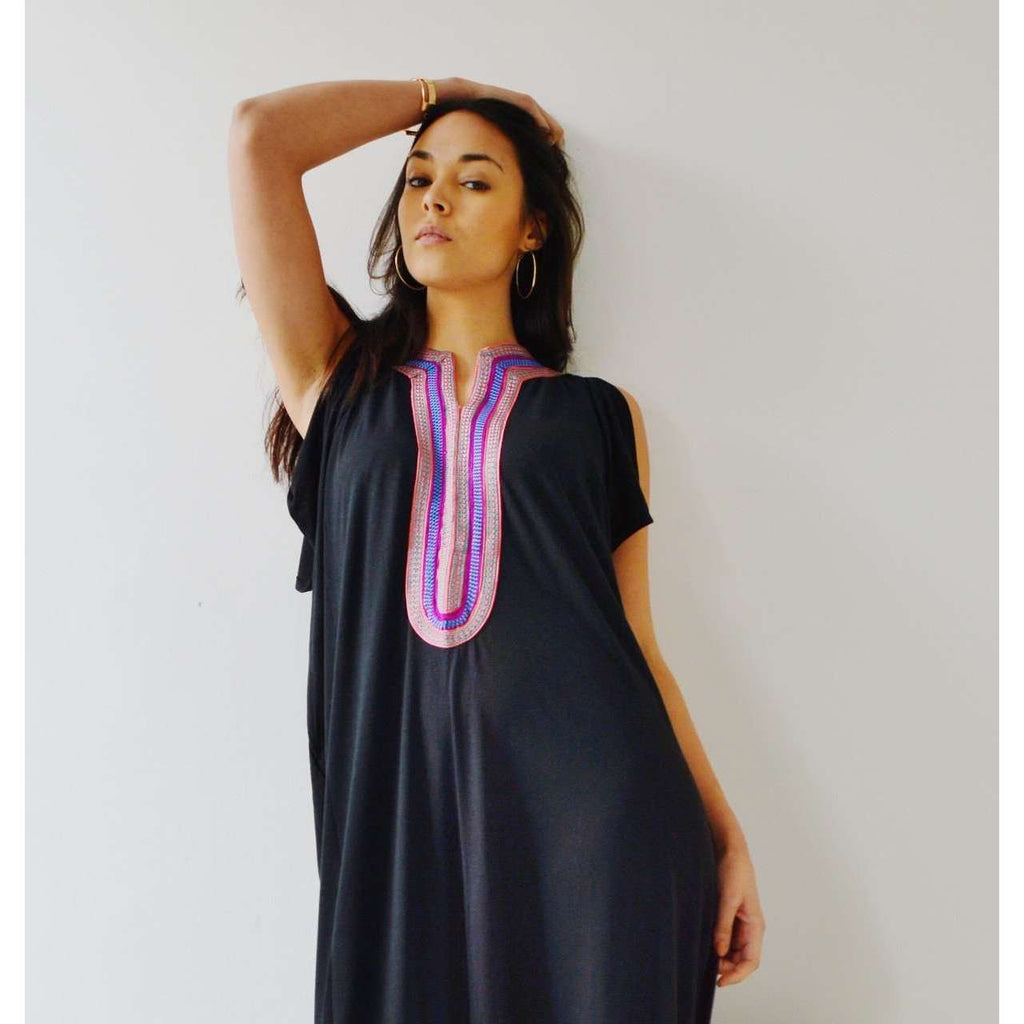 New Summer Black Marrakech Bohochic Tee Kaftan Caftan - Maison De Marrakech