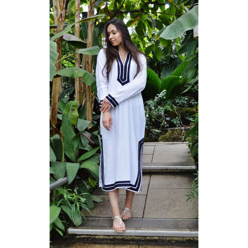 White with Navy Blue Kaftan Mariam Style - Moroccan Kaftan,White with Navy Blue Kaftan Mariam Style - Moroccan Kaftan