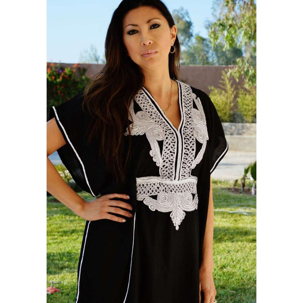 Black with White Embroidery Marrakech Resort Kaftan - Maison De Marrakech