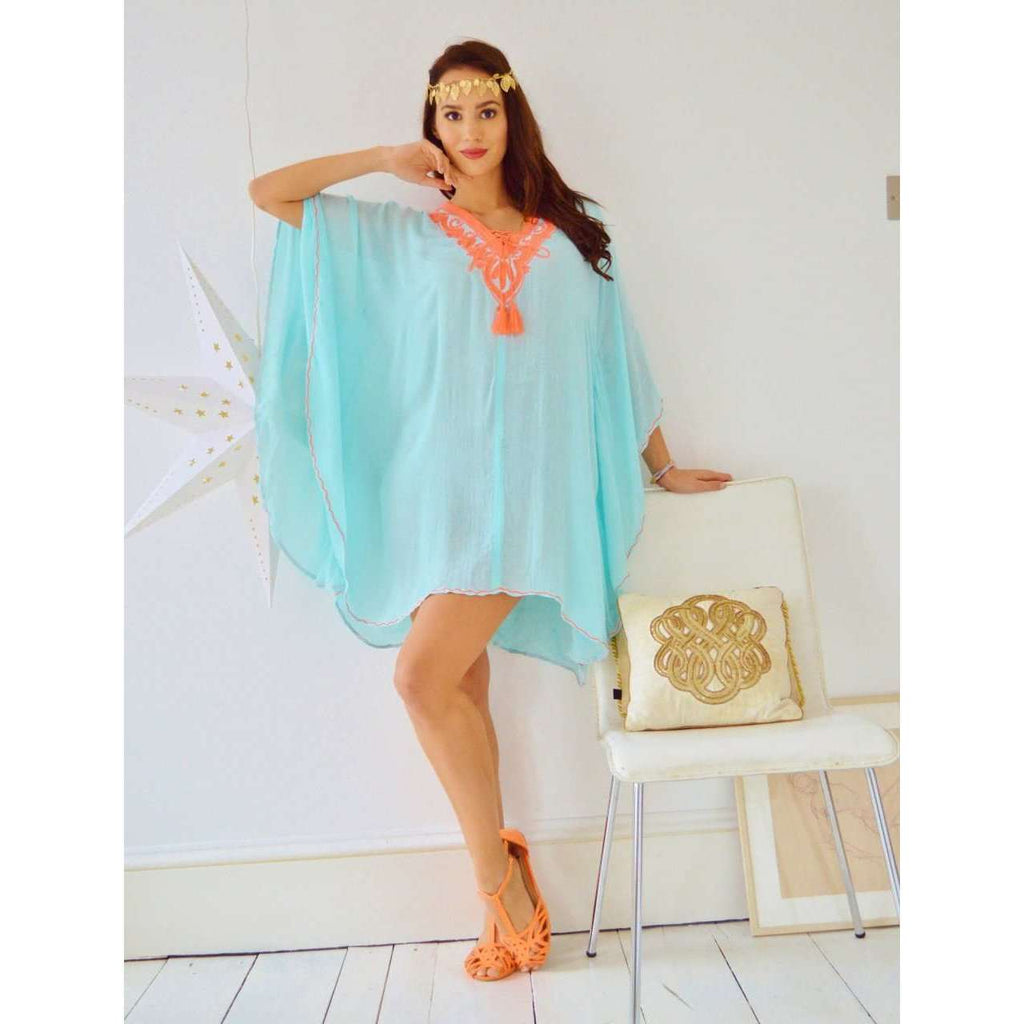Turquoise with Neon Orange Embroidery Resort Tunic Cover up-holiday wear, beachwear, beach wedding, maternity, shirt, gifts - Maison De Marrakech
