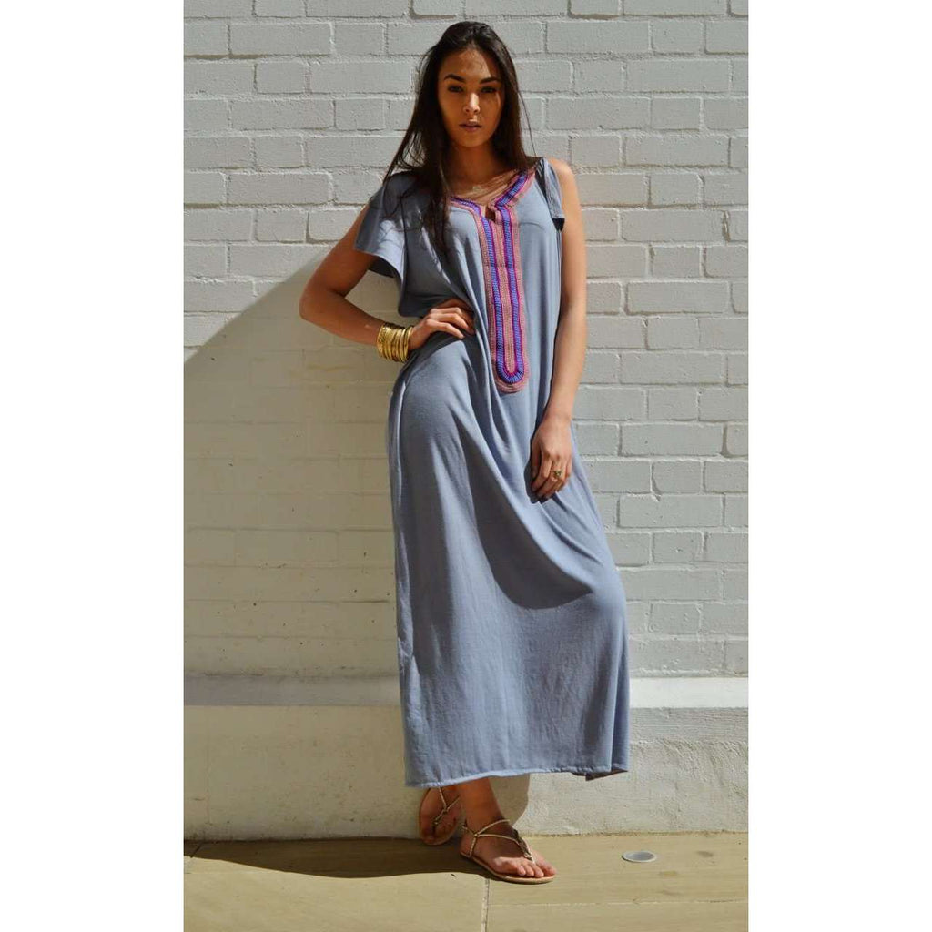 New Summer Grey Marrakech Bohochic Tee Kaftan Caftan - Maison De Marrakech