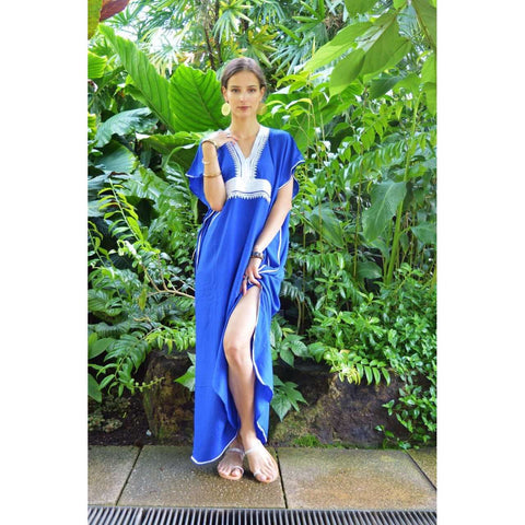 Blue Kaftan Maxi Dress Marine Style - Maison De Marrakech