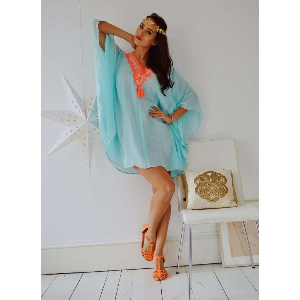 Turquoise with Neon Orange Embroidery Resort Tunic Cover up-holiday we