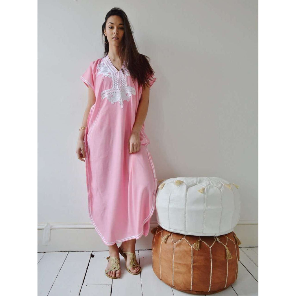 New Pink Marrakech Resort Lounge Wear Caftan Kaftan with White Embroidery-Moroccan Kaftan - Maison De Marrakech