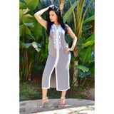 Grey with White Kaftan Maxi Dress -Non sleeve Style - Maison De Marrakech