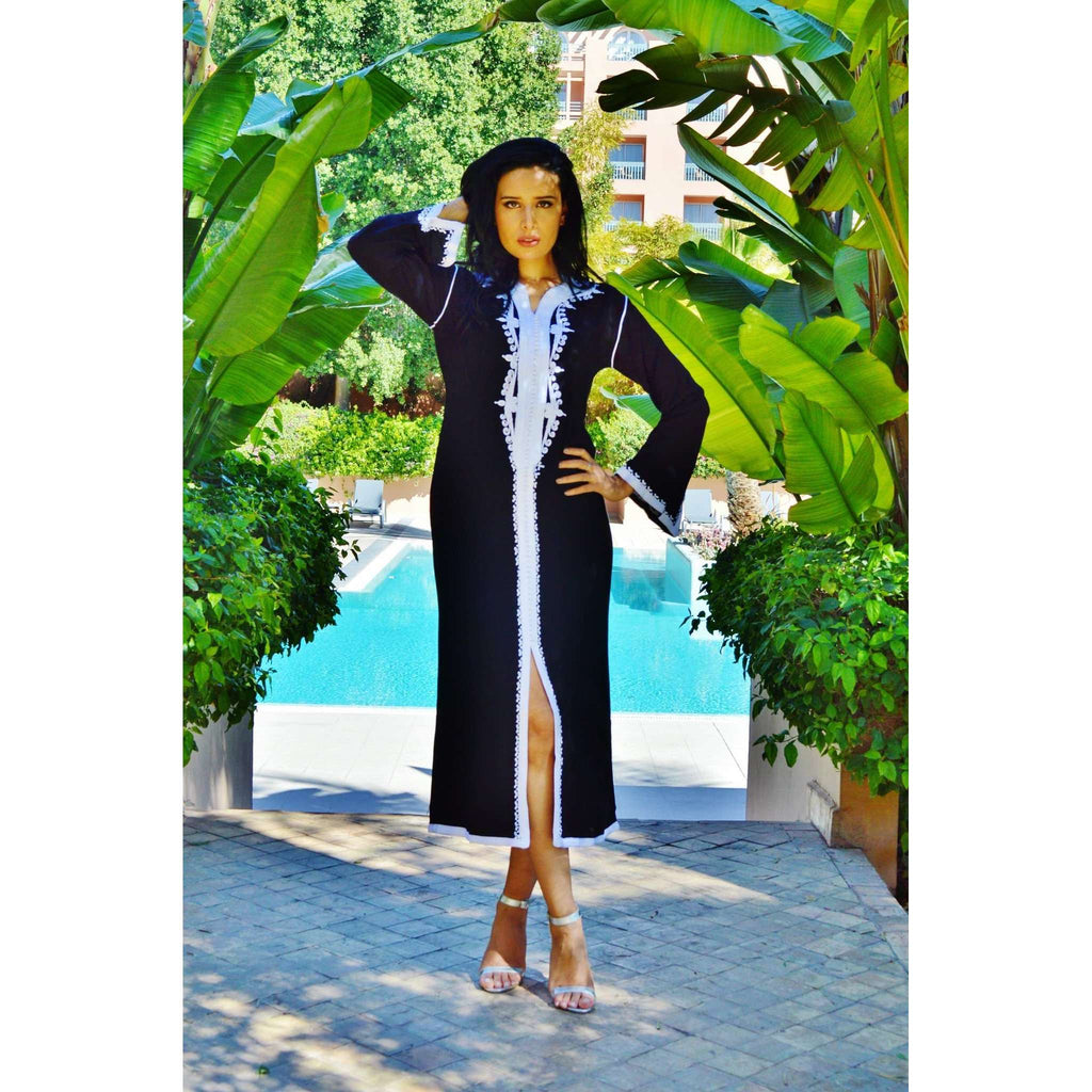 Black with White Kaftan Maxi Dress -Warda Style - Maison De Marrakech