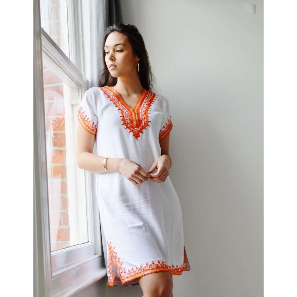 White with Orange Embroidery Tunic Dress-Moroccan Dress - Maison De Marrakech