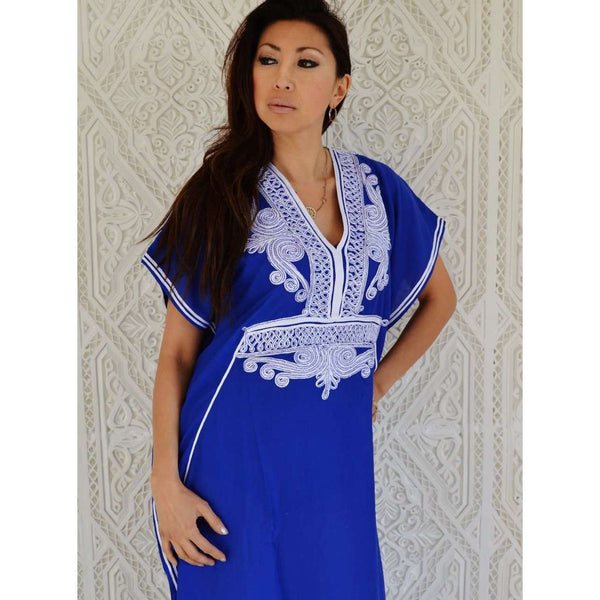 Blue White Embroidery Marrakech Resort Moroccan Kaftan - Maison De Marrakech