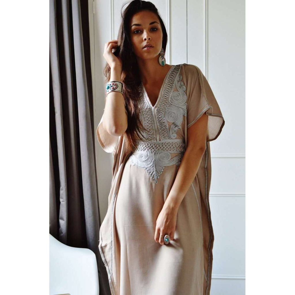 Beige Marrakech Resort Lounge Wear Caftan Kaftan with Silver Embroidery - Maison De Marrakech
