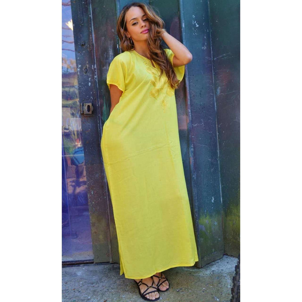 Yellow Madeira Long Kaftan- Perfect for Resort wear, Beach wear, loungewear - Maison De Marrakech
