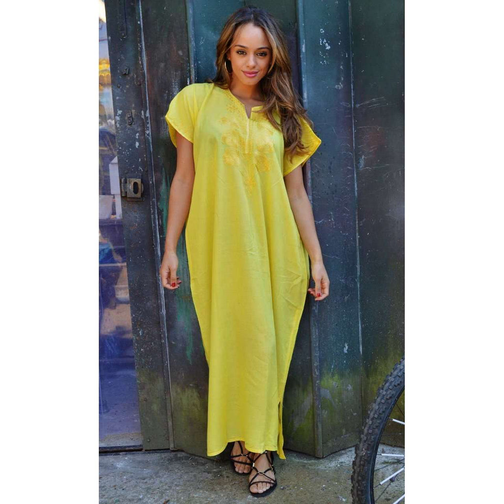 Yellow Madeira Long Kaftan- Perfect for Resort wear, Beach wear, loungewear