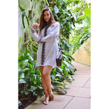 White Moroccan Embroidery Tunic Dress-Moroccan Dress,White Moroccan Embroidery Tunic Dress-Moroccan Dress
