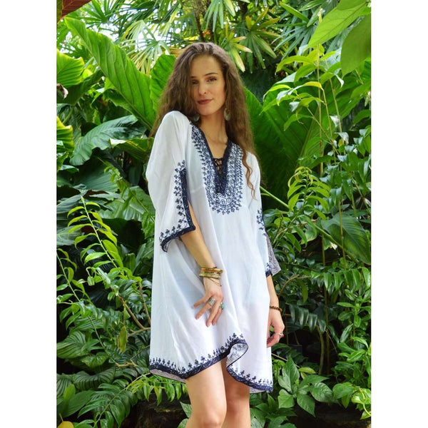 White with Silver Blue Embroidery Nadia Tunic Dress - Moroccan Tunic - Maison De Marrakech