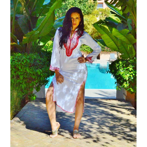 White Autumn Winter Resort Maxi Boho Kaftan - Maison De Marrakech