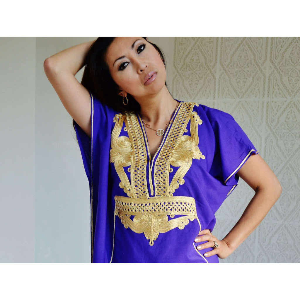 Purple with Gold Embroidery Marrakech Resort Kaftan-Bohemian Kaftan - Maison De Marrakech