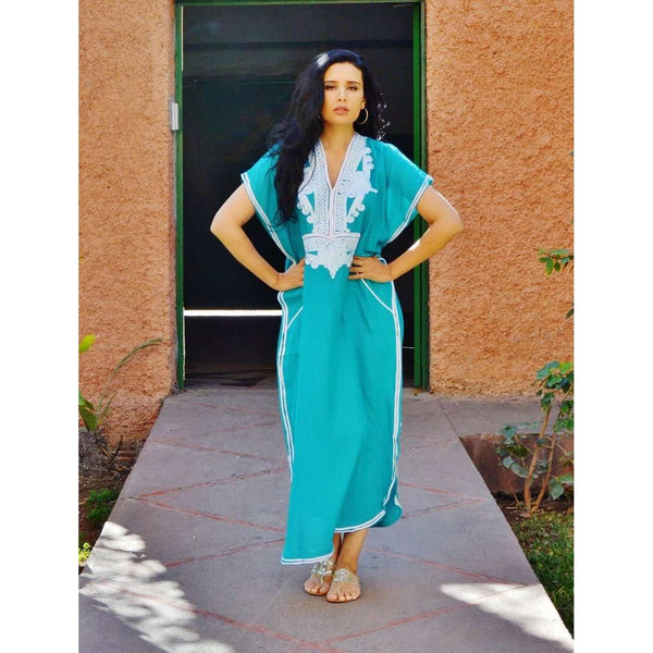 Emerald Green Marrakech Resort Lounge Wear Caftan Kaftan with White Embroidery - Maison De Marrakech