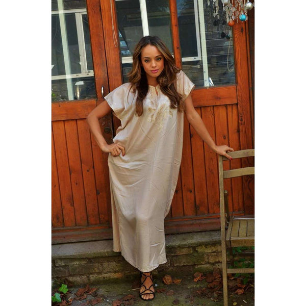 Spring Beige Madeira Long Kaftan- Perfect for Resort wear, Beach wear, loungewear, Eid - Maison De Marrakech