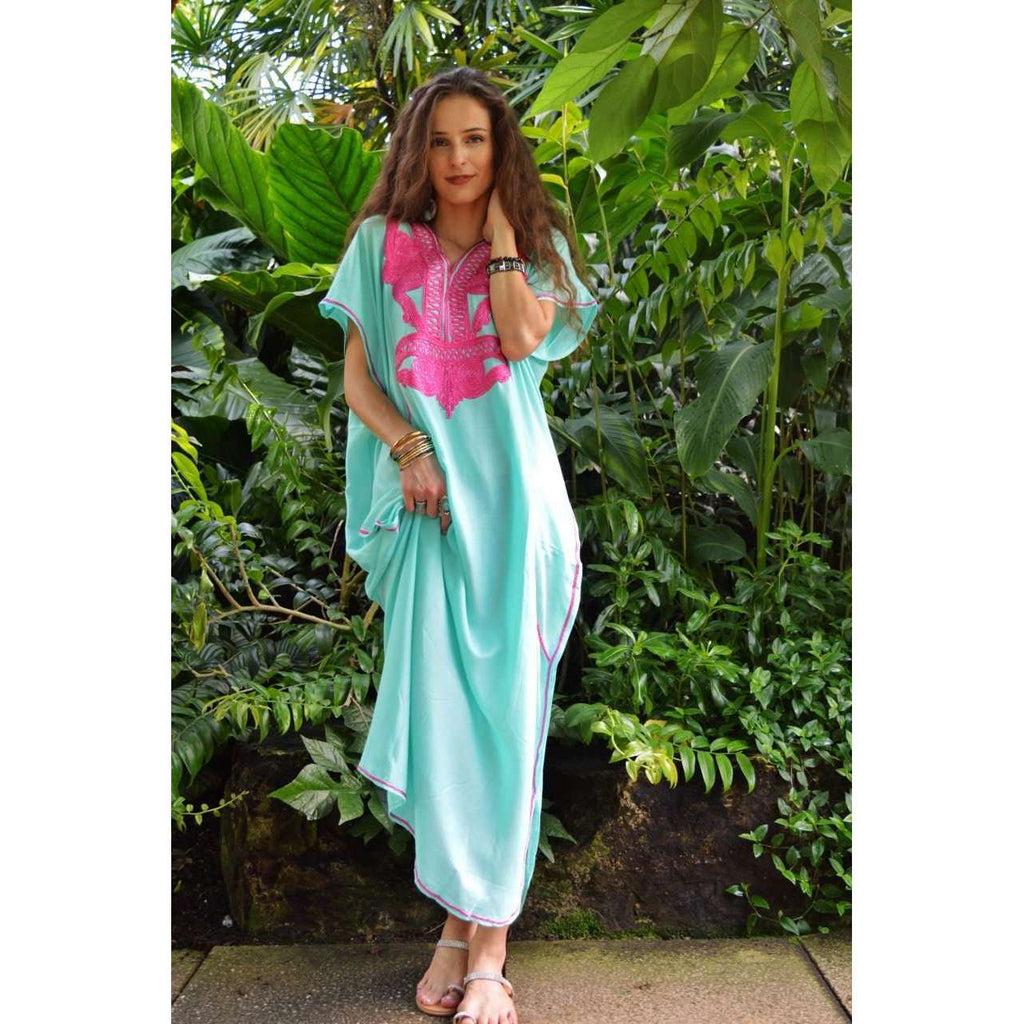 Emerald Green Marrakech Resort Lounge Wear Caftan Kaftan with Pink Embroidery