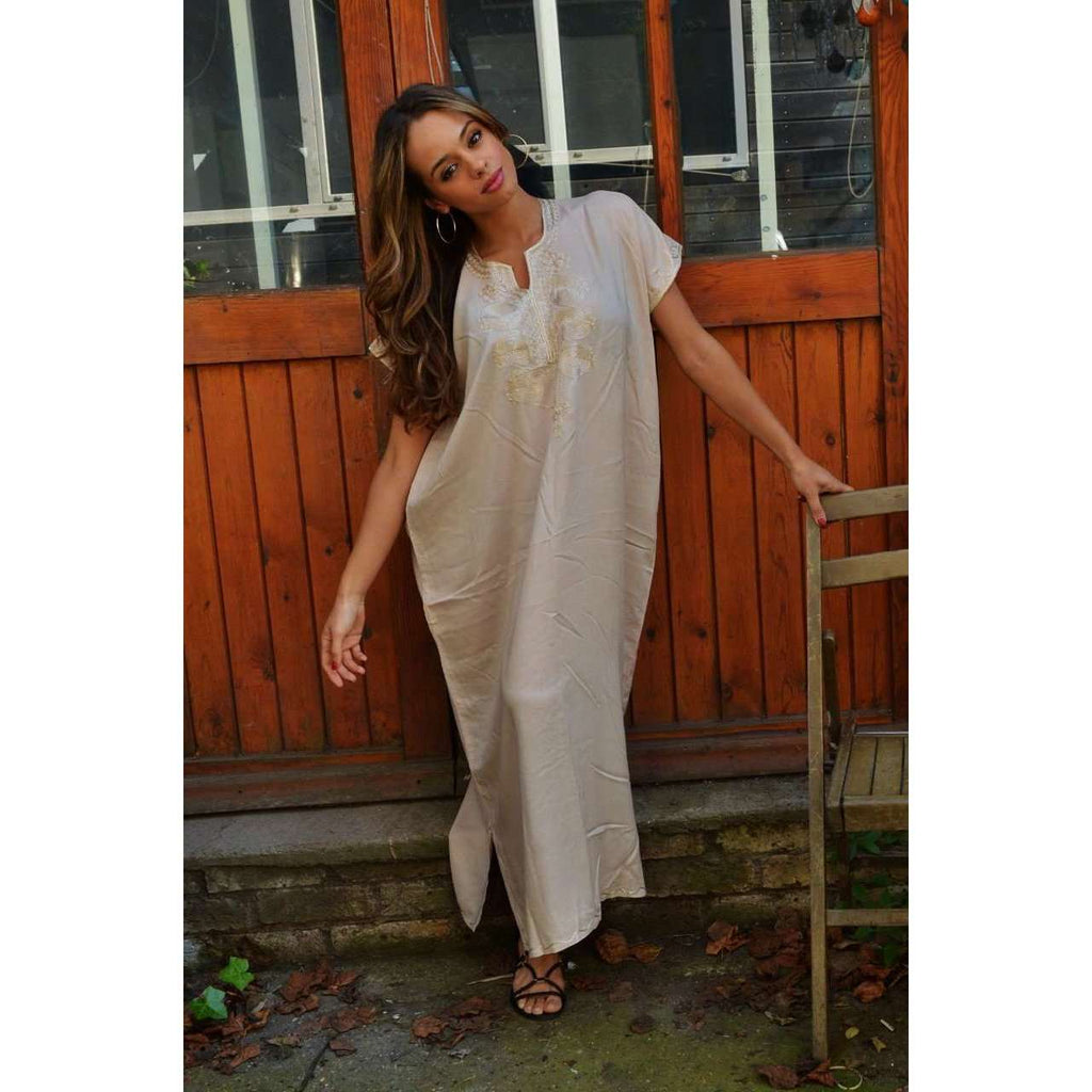 Spring Beige Madeira Long Kaftan- Perfect for Resort wear, Beach wear, loungewear, Eid,Spring Beige Madeira Long Kaftan- Perfect for Resort wear, Beach wear, loungewear, Eid