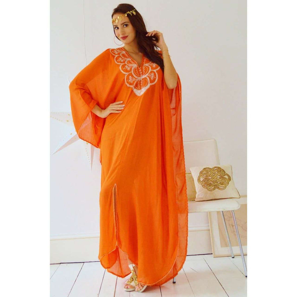Autumn Orange Agadir Embroidery Beach Wedding Gown Moroccan Kaftan - Maison De Marrakech