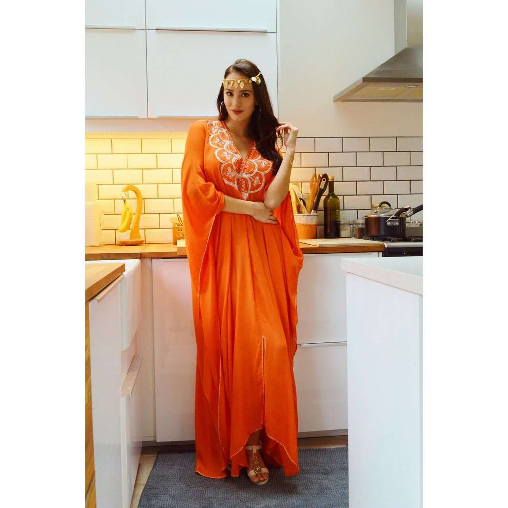 Autumn Orange Agadir Embroidery Beach Wedding Gown Moroccan Kaftan