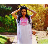 White with Pink Marrakech Short Resort Kaftan- beach kaftan - Maison De Marrakech